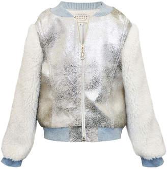Hannah Banana Girl's Metallic & Faux Fur Bomber Jacket, Size 7-14