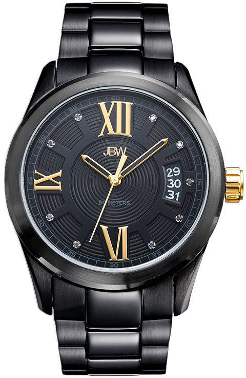 JBW Bond Mens Diamond-Accent Black Stainless Steel Watch J6311E