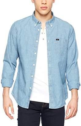 Lee Men's Button Down Casual Shirt, Blue (Light Qxej), XXXX-Large