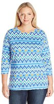 Fresh Women's Plus Size 3/4 Printed Scoop Neck Tee W Satain Trim