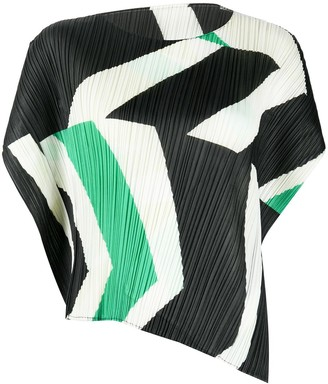 Pleats Please Issey Miyake Pleated Geometric Print Top
