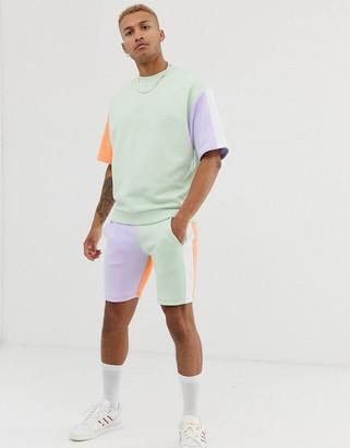 Asos Design DESIGN co-ord short sleeve oversized sweatshirt with pastel colour blocking-Green