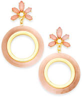 INC International Concepts I.n.c. Gold-Tone Stone Flower & Resin Gypsy Hoop Earrings, Created for Macy's