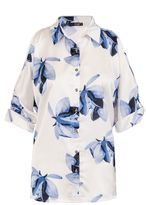 Quiz White And Blue Satin Cold Shoulder Shirt