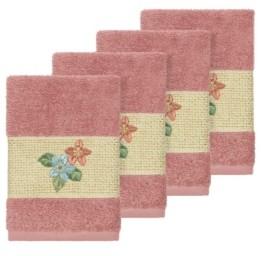 Linum Home Caroline 4-Pc. Embroidered Turkish Cotton Washcloth Set Bedding
