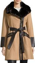 Via Spiga Wool-Blend Asymmetric-Zip Belted Coat, Camel