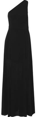 Halston One-shoulder Cady-paneled Chiffon Gown