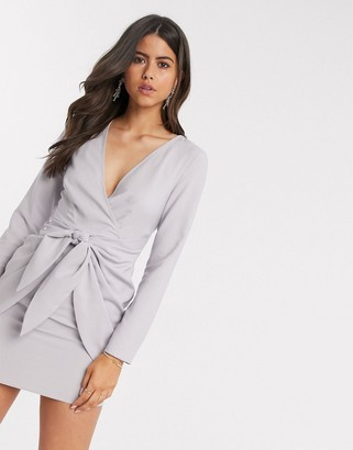 Asos DESIGN wrap front mini dress with knot skirt detail in gray
