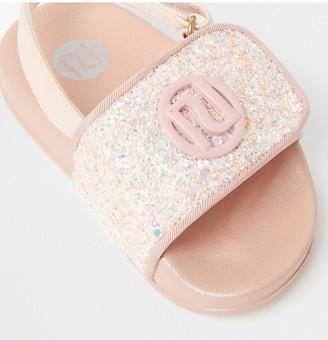 River Island Girls Glitter Sliders-Pink