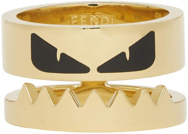Fendi Gold and Black Bag Bugs Eyes Ring