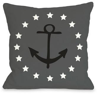 One Belle Casa Anchor Stars Decorative Pillow