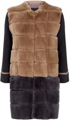 D-Exterior D.Exterior Contrast Rabbit-Fur Coat