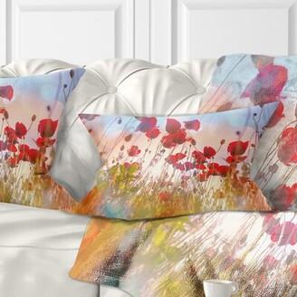 East Urban Home Floral Cute Poppy Flowers in Sunlight Lumbar Pillow East Urban Home