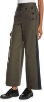Sacai Wide-Leg Side-Pleat Pants, Khaki