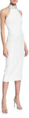 Pamella Roland Embellished Halter-Neck Crepe Sheath Dress