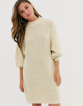 Asos Design DESIGN knitted rib mini dress with chunky crew neck-Cream