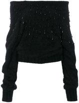 Alberta Ferretti funnel neck crystal sweater - women - Polyamide/Angora - 38