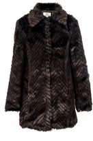 Quiz Brown Zigzag Fur Coat