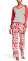 U.S. Polo Assn. Women's Sleep Bottoms charcoal - Charcoal Heather Geometric Winter Pajama Set - Women