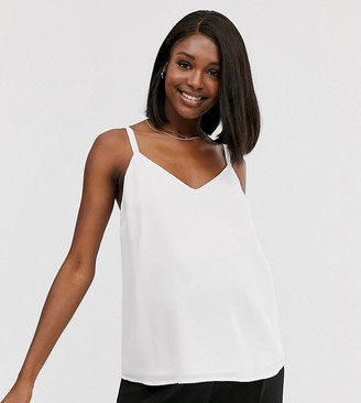 Asos DESIGN Maternity eco swing double layer cami with wide straps-White