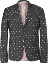 Thom Browne - Grey Slim-fit Embroidered Wool And Mohair-blend Blazer