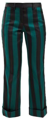 No.21 No. 21 - Striped Kick-flare Crepe Trousers - Black Multi