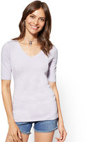 New York & Co. Tee Luxe - Shirred V-Neck Top