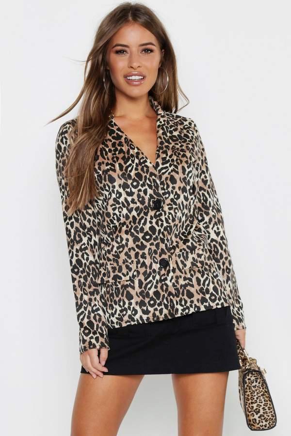 boohoo Petite Leopard Print Suedette Button Up Blazer