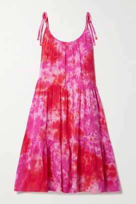 HONORINE Daisy Tiered Tie-dyed Crinkled Cotton-gauze Dress - Pink