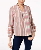 NY Collection Petite Striped Split-Neck Necklace Top