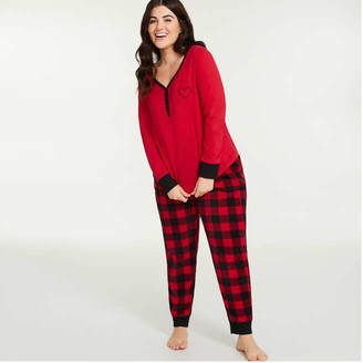 Joe Fresh Women+ 2 Piece Fleece Sleep Set, Red (Size 1X)