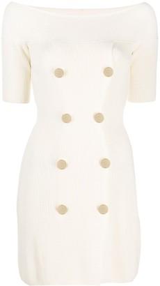 Elisabetta Franchi Button-Embellished Knit Dress