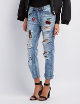 Charlotte Russe Machine Jeans Destroyed Patches Boyfriend Jeans