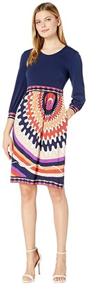 Donna Morgan Long Sleeve Stretch Knit Jersey Fit-and-Flare with Contrast Top and Bottom Dress (Purple/Coral) Women's Dress