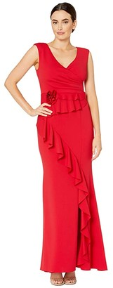 Adrianna Papell Long Pleat Wrap Crepe Dress with Fabric Flower and Ruffle Detail