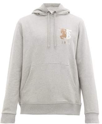 Burberry Hunter Logo Embroidered Cotton Hooded Sweatshirt - Mens - Grey