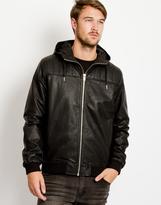 Bellfield Lundrum PU Zip Hooded Jacket
