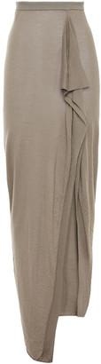 Rick Owens Grace Draped Brushed Cashmere Maxi Skirt