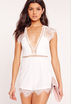 Missguided Lace Cap Sleeve Romper White