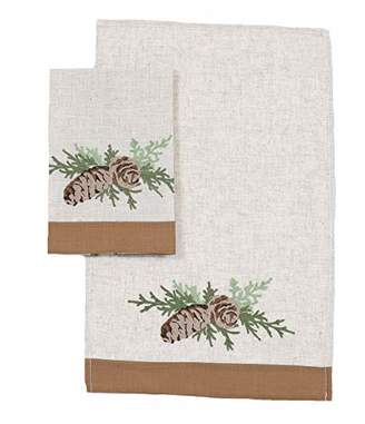 Manor Luxe Winter Pine Cones & Branches Decorative Towels