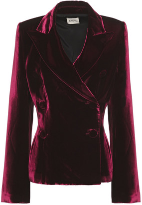 KHAITE Double-breasted Velvet Blazer