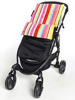 Fleece Footmuff/Cosy Toes Buggy Pushchair Baby Stripe/Dot/Star - Candystripe/Black Outer