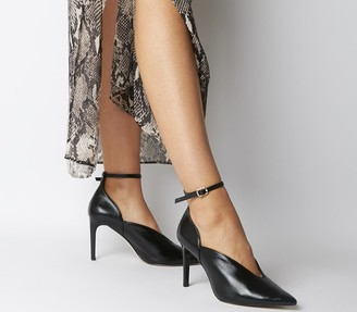 Office Hot Toddy Ankle Strap Shoe Boots Black Leather