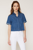 Forever 21 FOREVER 21+ Contemporary Life In Progress Collared Denim Shirt