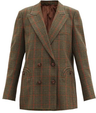 BLAZÉ MILANO Drum Beat Checked Wool-twill Suit Jacket - Green Multi