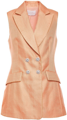 Peter Pilotto Crystal-embellished Double-breasted Satin-twill Vest
