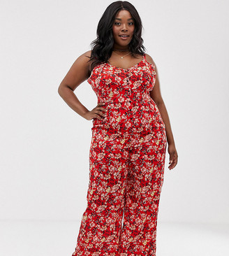Yumi Plus floral cami jumpsuit-Red