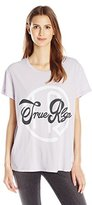 True Religion Women's Logo Short Sleeve Boyfriend Crew Neck Tee