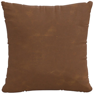 One Kings Lane Sonoran Faux-Leather Pillow - Saddle Brown