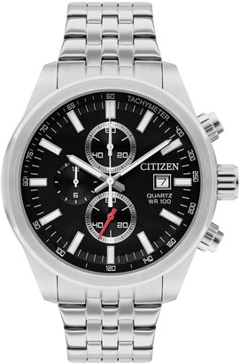 Citizen Black and Silver Detail Chronograph Dial Stainless Steel Bracelet Mens Watch